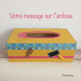 Cadeau maitresse... Boite à mouchoirs personnalisée... jaune, turquoise et rose... papillons