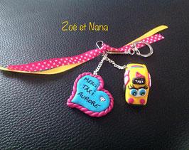 Cadeau TAXI... porte clé personnalisé... taxi femme jaune, bleu, rose