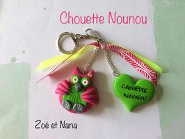 Chouette Nounou... Porte clé... fuchsia & vert anis
