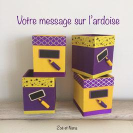 Pot à crayons personnalisé jaune & violet (ref. JV)