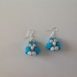 Boucles d'oreilles, chouettes, Bleu turquoise, gris & blanc