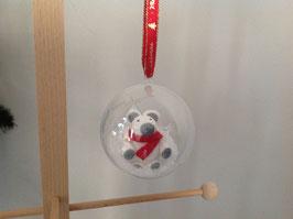 Boule personnalisée pour sapin de Noel... ourson blanc