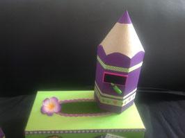 Pot à crayons, Crayon, Prune et vert anis, personnalisé