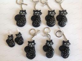 Porte clé, Chat, Noir, strass