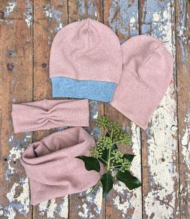 Beanie/ Haarband/ Loop Strick rosé