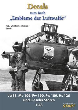 """Decalbogen zum Buch """"Embleme der Luftwaffe, Band 1, Nah- und Fernaufklärer"""""""