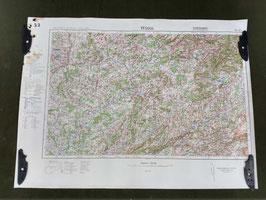 Carta Geografica TEDESCA Mappa FRANCIA - SVIZZERA - ww2 (##)