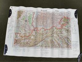 Carta Geografica TEDESCA Mappa GERMANIA - FRANCIA - SVIZZERA - ww2 (##)