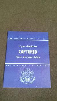 Libretto dei diritti del Soldato U.S. catturato durante ww2