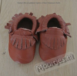 Baby moccasins leather - Morning Coffee