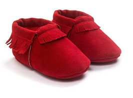 Baby Moccasins suede - Rood