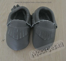 Baby moccasins leather - Antracite