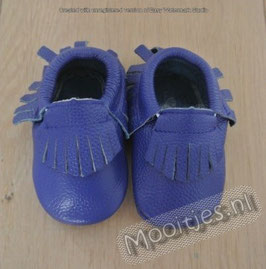 Baby moccasins leather - Deep Blue