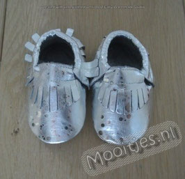 Baby moccasins PU leather - Sparkling Silver
