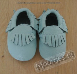 Baby moccasins leather - Sky blue
