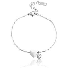 Armband hart/diamant - stainless steel