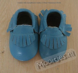 Baby moccasins leather - Lake Blue