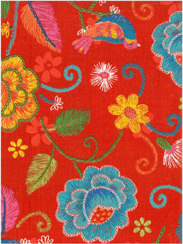 Bobike bekleding - Borduur Oily rood