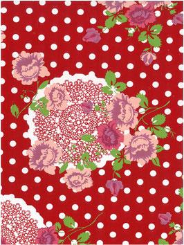 Bobike bekleding - Flowers, lace & dots rood