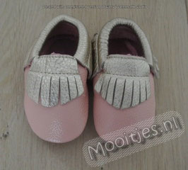 Baby moccasins leather - Blush Gold