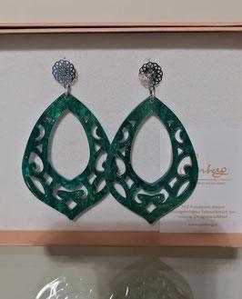 Edele Ohrringe von der Designmanufaktur SEENBERG - PETROL-groß