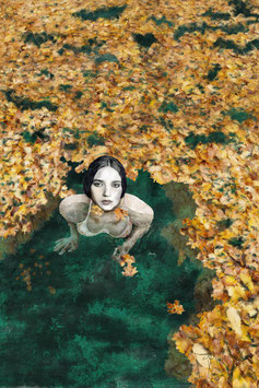 Woman Swimming in Autumn Leaves  -12-