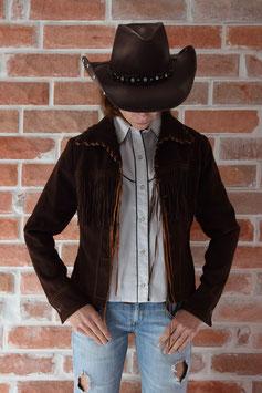 Veste courte marron à franges