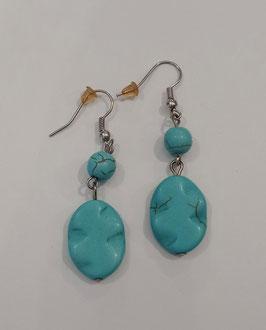 BOUCLES D'OREILLES perles en turquoises