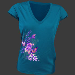 TEE SHIRT FEMME bleu et papillon