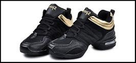 Baskets de danse noires et dorées