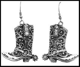 Boucles d'oreille botte argent et noir avec strass