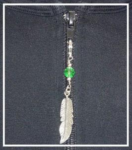 zip fermeture éclair plume et perle