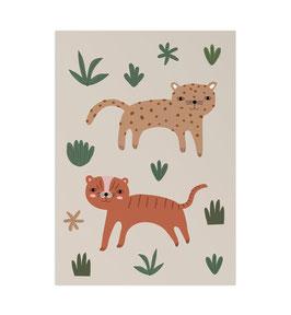 Wild cats Art Print von Little Otja