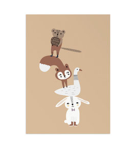 Animal Tower Art Print