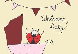 """Postkarte """"Welcome Baby"""" rosa von Käferkind"""