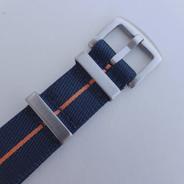navy dünn orange gestreift fein strukturiert 20 mm 9078
