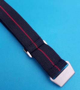 Parachute elastic Nato Strap 20 mm Navy schwarz # roter Streifen 9160