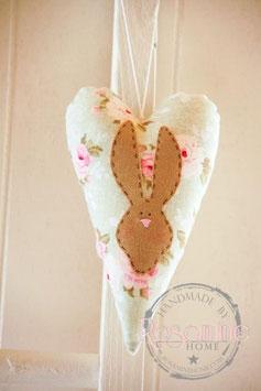 Rosamine Herz mit Häschen, flowers
