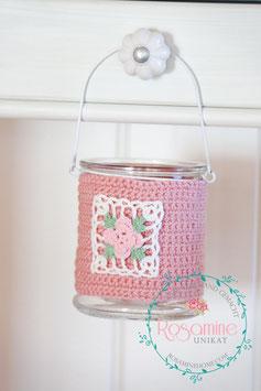 Häkelglas, rosa