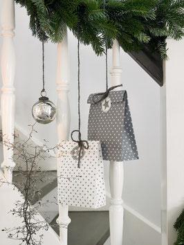 GreenGate Geschenktüten mit Stickern, Star warm grey