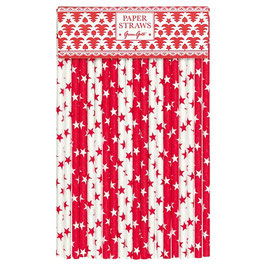 GreenGate Papierstrohhalme, Star red