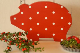 Rosamine Schweinchen red w. dots