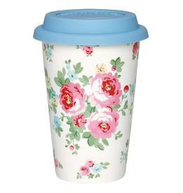 GreenGate Travel Mug, Simone white