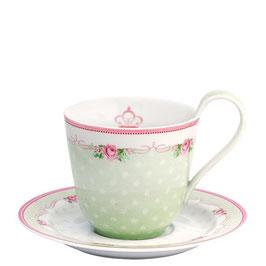 GreenGate Tasse mit Unterteller, Amelie white