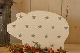 Rosamine Schweinchen white w. grey stars