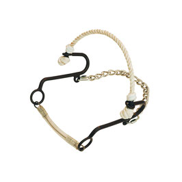 SHORT HACKAMORE Black Satin with Rope Nose