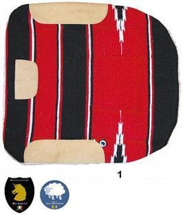 Sottosella da barrel Lana imbottito esterno tessuto navajo o pile, pura lana e rinforzi in pelle
