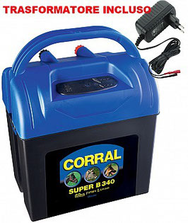 Elettrificatore CORRAL SUPER B340 a batteria 9V/12V e corrente 230V per recinzioni fino a 4 km
