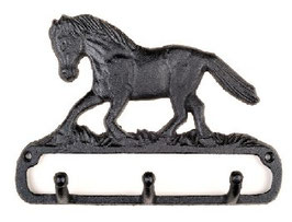 Portabriglie con cavallo in corsa  in ghisa con 3 ganci
