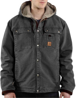 CARHARTT J284 MENS SANDSTONE Hooded Multi-Pocket Jacket/Sherpa Lined